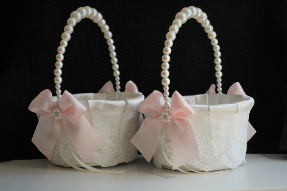 Blush Flower Girl Basket / Blush pink basket / Pink wedding basket / Pearl handle basket / Pearl wedding basket / Lace wedding basket