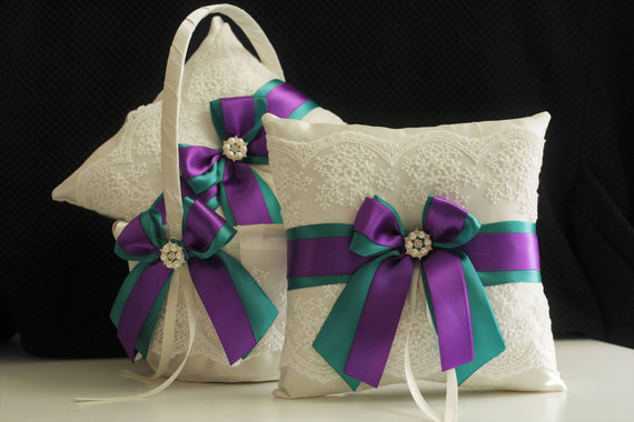 Purple Teal Wedding basket / Teal purple bearer pillow ivory / Teal flower girl basket / teal ring bearer / teal lace bearer basket set
