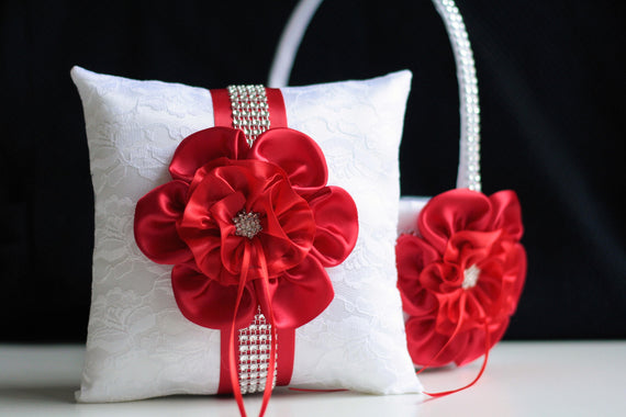 Red flower girl basket / Red wedding pillow / Lace ring pillow / White pillow basket set / Red Ring Bearer Pillow / White Red Wedding Basket