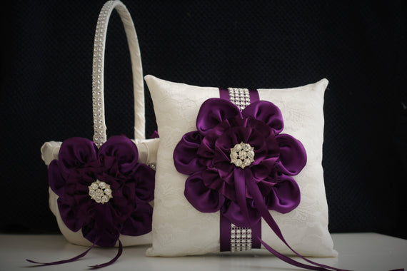 Plum Ring Bearer Pillow / Plum Wedding Basket / Plum Flower Girl Basket / Ivory Plum Bearer / Plum Wedding Pillow Basket Set / Plum Bearer