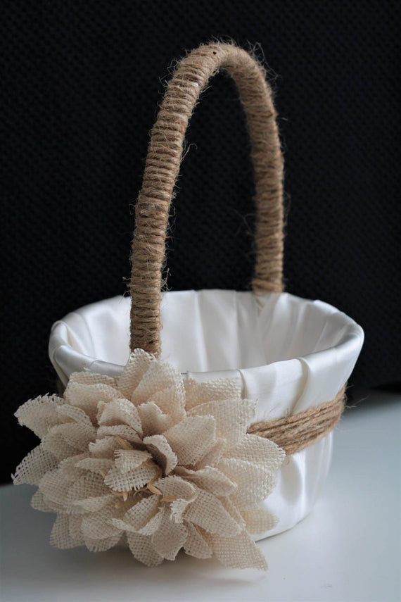 Rustic Wedding Basket \ Rustic Flower Girl Basket \ Burlap Wedding \ Burlap flower girl basket, Rustic Wedding Set, Rustic Basket Pillow set