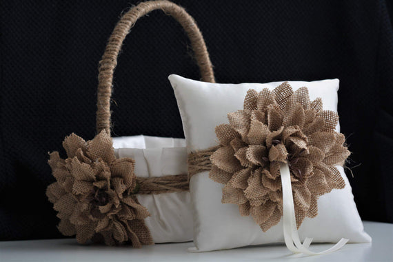 Rustic Ring Bearer Pillow / Rustic Flower Girl Basket / Burlap Flower Basket / Burlap Ring Pillow / Rustic Wedding Basket Pillow Set