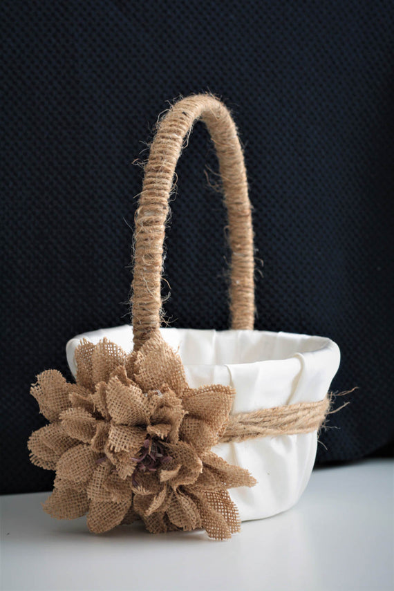 Rustic Wedding Basket / Rustic Flower Girl Basket / Shabby Chic Basket / Burlap Wedding Basket Pillow Set / Rustic Ring Bearer Pillow