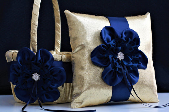 Dark Blue basket Gold Navy Bearer Navy Gold Bearer Pillow Gold Ring Bearer Basket Set Gold Cushion Pillow Navy Gold Basket for petals