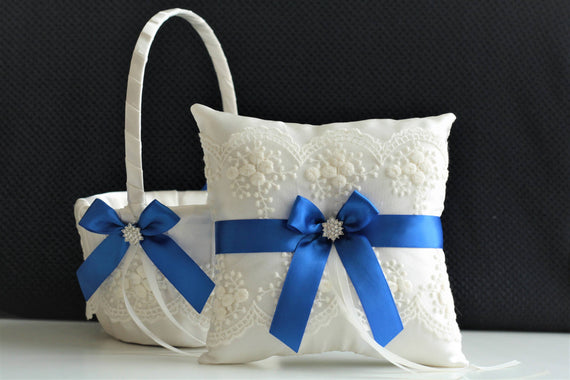 Royal Blue Bearer / Blue Wedding basket / Blue Ring bearer pillow / Royal blue basket / Blue flower girl basket Ivory blue pillow basket set