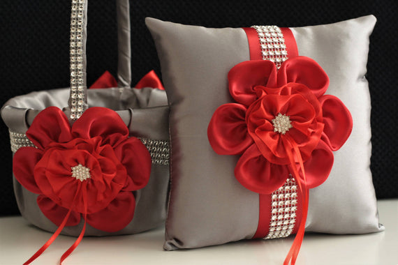 Gray Red Wedding Basket / Gray Red Bearer / Gray Red Basket / Red Gray Flower Girl Basket / Red Ring Bearer Pillow / Gray Pillow Basket Set