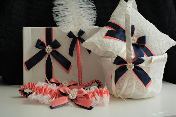 Coral Navy Wedding Bearer \ Coral Navy Flower Girl Basket \ Coral Navy Guest Book with Pen \ Coral Navy Garter Set, Coral Ring Bearer Pillow