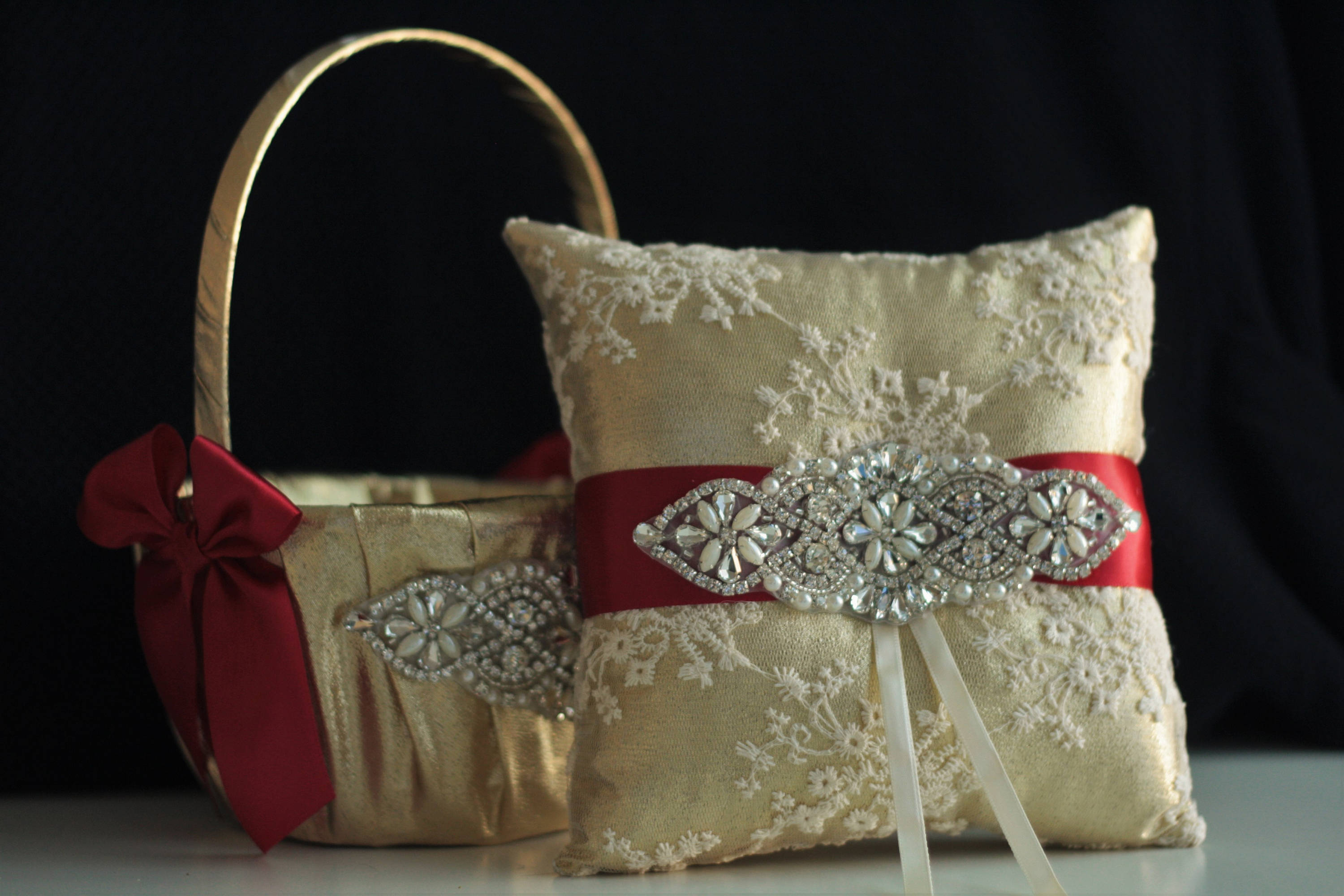 Red Ring Bearer Pillow Red Flower Girl Basket Red Gold Wedding Accessories Gold Red Wedding Basket Red Gold Bearer Pillow Basket Set