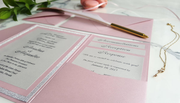 Blush Pink Wedding invitations / Pink Silver Invites / Pocket fold invitation / Mistry Rose invites / Blush pink invitation / Glitter silver