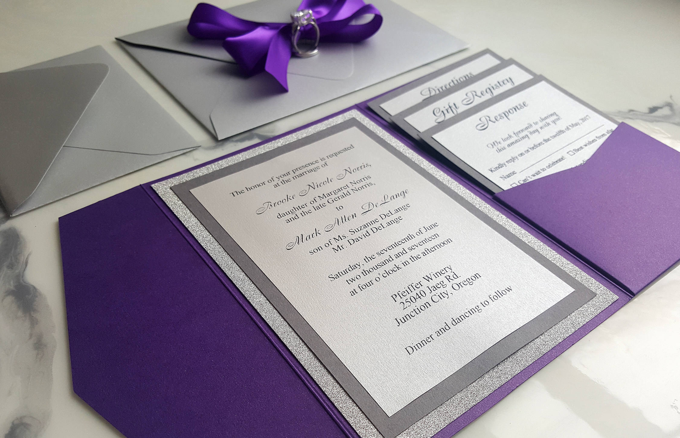 purple silver wedding invitations metallic pocket fold invites