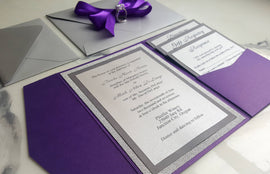 Purple Silver Wedding Invitations / Metallic Pocket Fold Invites / Purple Invitations / RSVP card / Insert cards / Glitter silver invites