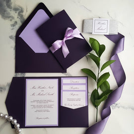 Plum Violet Wedding Invitations / Plum Invitations / Plum Pocket Fold Invites / Purple Invitations / Egg Plant Invites / Lilac Invitations