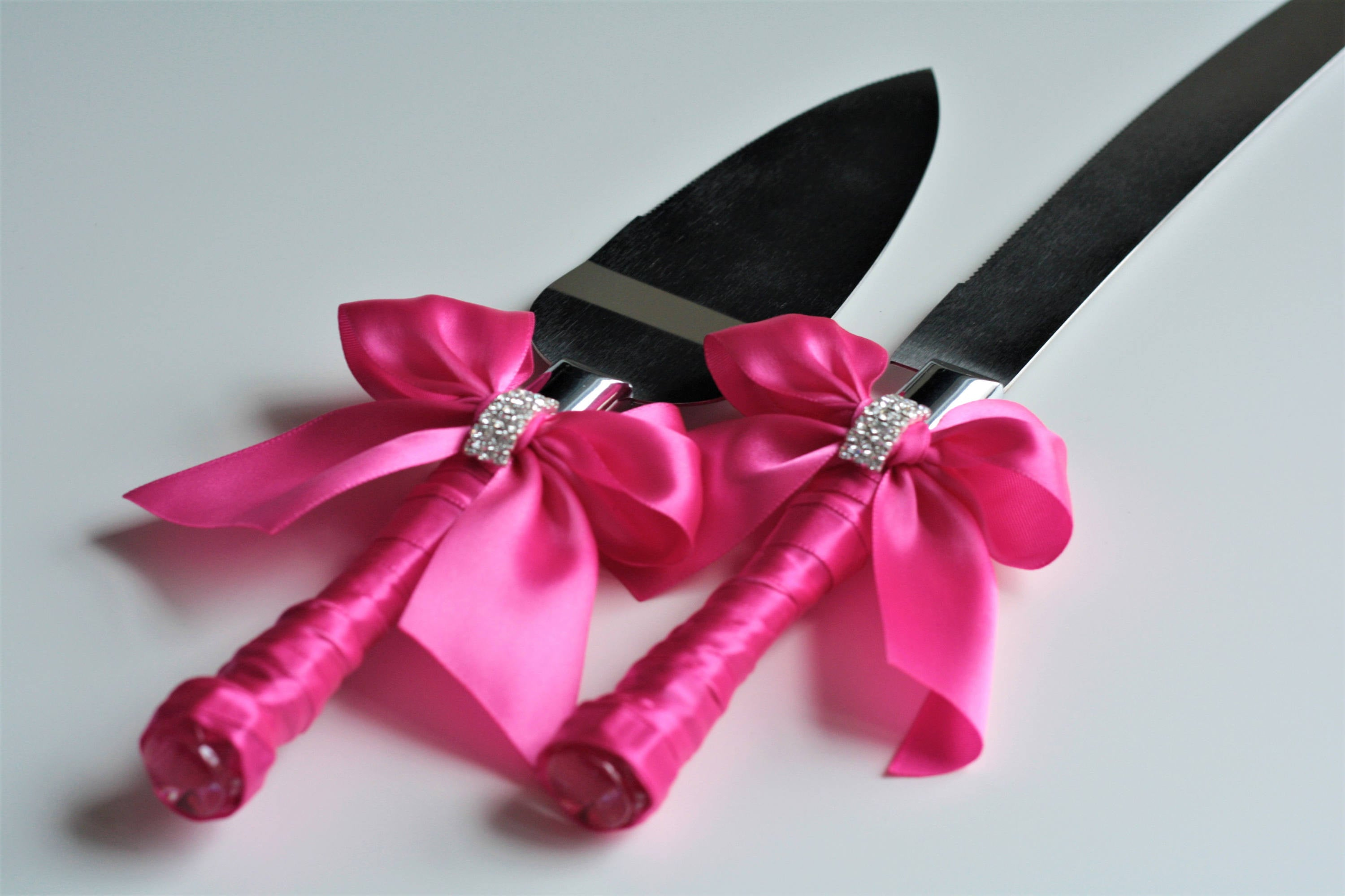 Fuchsia Wedding Cake Server Set / Hot Pink Wedding Cake Cutting Set ...