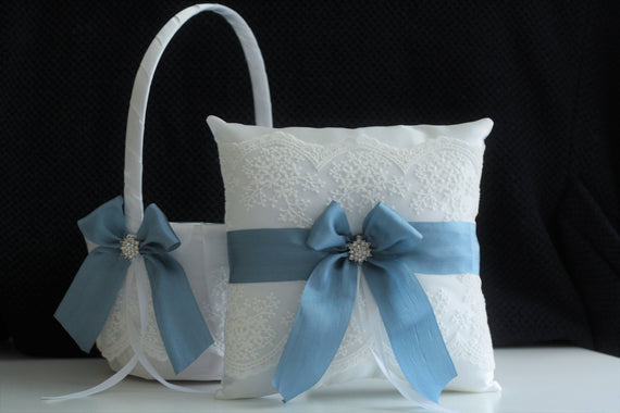 Steel Blue Wedding Basket / Steel Blue Bearer / Steel Blue Basket, White Blue Flower Girl Basket, White Blue Bearer Pillow, Blue Ring Bearer