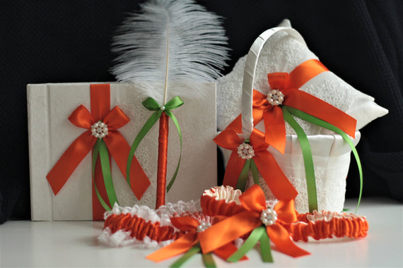 Orange Lime Wedding Basket / Orange Lime Bearer Pillow / Orange Flower Girl Basket Pillow Set / Orange Guest Book and Pen  Orange Garter Set