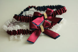 Bridal Garter Set, Wedding Garters, Garter Belt, Wedding Garter Set, Burgundy Garters, Navy Red Garters, Lace bridal garter, Navy Garter Set