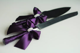 Plum Cake Server Set, Purple Wedding Cake Cutting Set / Plum Cake Serving set / Wedding cake knife and Server \ Wedding knife set