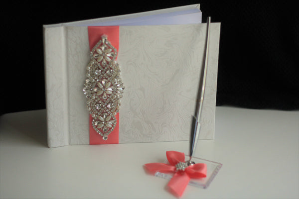 Coral Guest Book with Pen