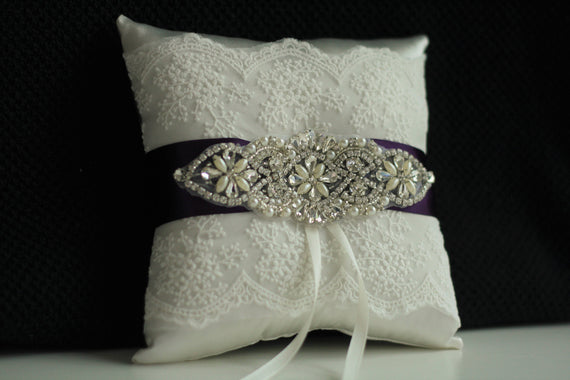 Plum Ring Bearer Pillow / Jewel Wedding Pillow / Lace Plum Bearer / Plum Ring Holder Plum Flower Girl Basket Pillow Set Jewel Wedding Basket