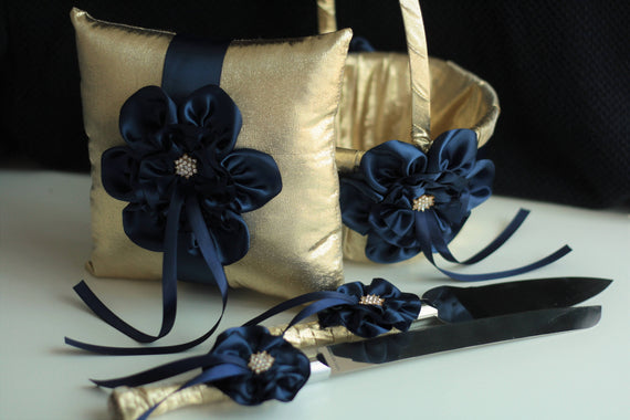 Gold Navy Bearer Pillow / Gold Navy Flower Girl Basket Pillow Set / Gold Navy Server Set / Cake Serving Set / Gold Navy Wedding Basket