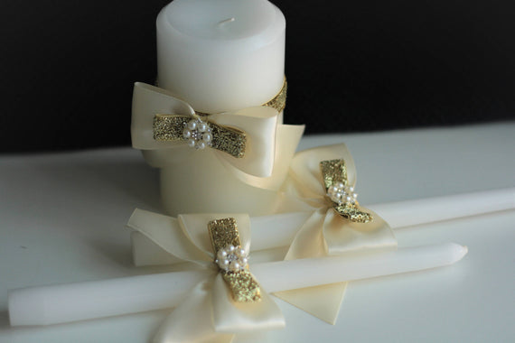 Gold Wedding Candles / Church unity candles / Gold Unity Candles / Wedding Unity Candle Ceremony Candles / Ivory Gold candle / stick candles