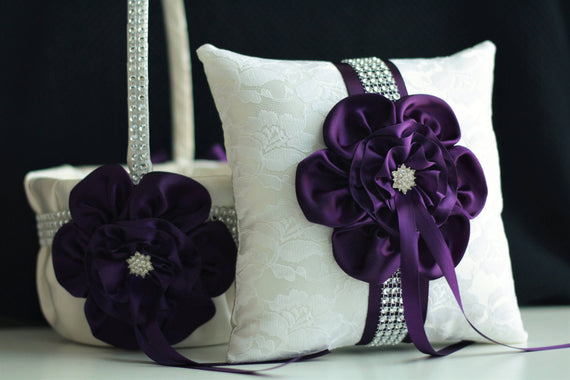 Plum Wedding Pillow / Plum Ring Bearer Pillow / Plum Wedding Basket / Plum Flower Girl Basket Pillow Set / Eggplant Bearer / Eggplant Basket
