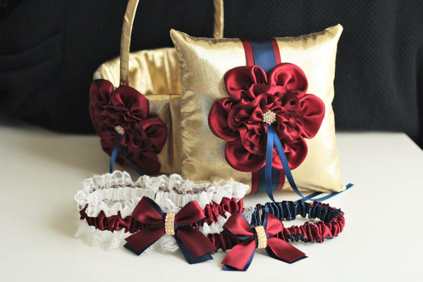 Burgundy Flower Girl Basket \ Burgundy Navy Gold Bearer Pillow \ Navy Burgundy Garter Set \ Navy Burgundy Wedding Pillow Basket Set