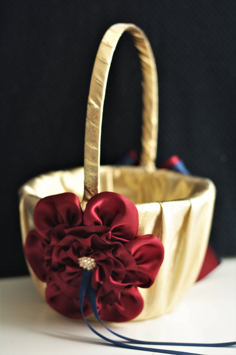 Gold burgundy navy flower girl basket ring bearer pillow wedding gold burgundy navy flower girl basket ring bearer pillow wedding set alex emotions izmirmasajfo