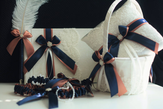 Rose Gold Navy Wedding Basket / Navy Ring Bearer Pillows / Guest Book with Pen Rose gold Garters \ Rose Gold Bearer / Flower Girl Basket