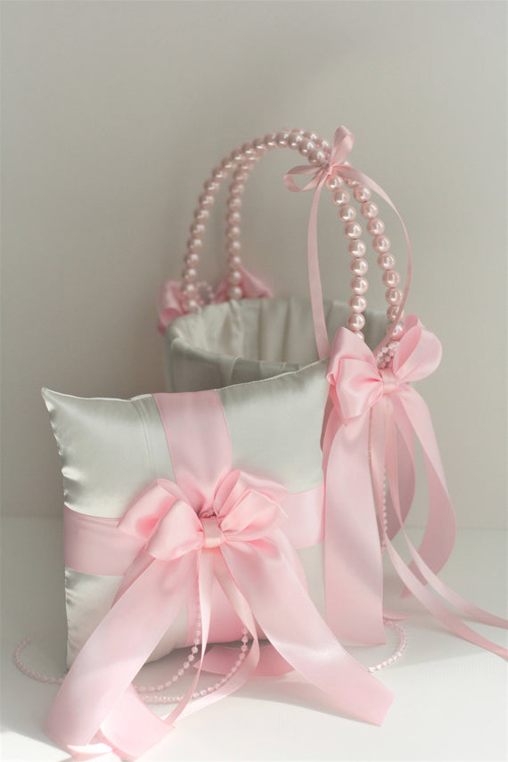 Ivory Pink Wedding Basket / Pink Ring Bearer Pillow / Pink Flower Girl Basket + Pink Wedding Pillow  Ivory Pink Bearer Pillow basket Set