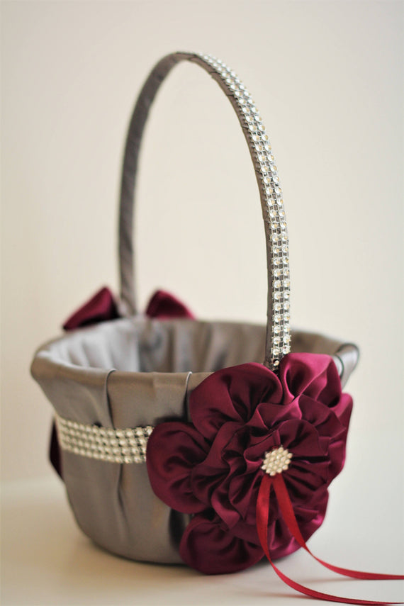 Gray Burgundy Basket / Gray Flower Girl Basket / Gray Wedding basket / Gray Red Basket / Burgundy Wedding / Burgundy basket Gray Vine Basket
