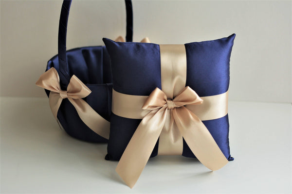 Champagne Navy Wedding Pillow / Navy Flower Girl Baskets Navy Ring Bearer Pillow Navy Wedding Baskets Brown Navy Bearer Brown Wedding Pillow