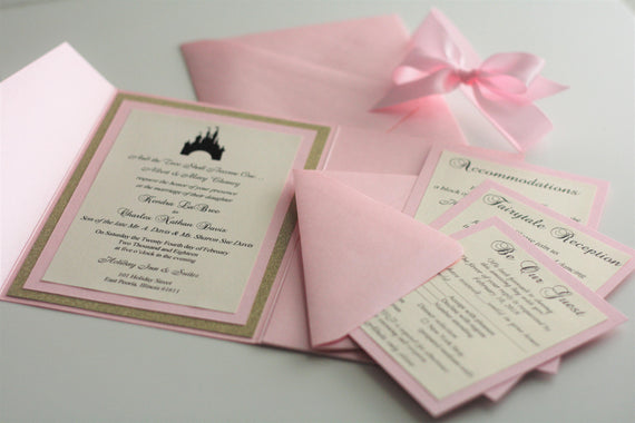 Pink Wedding Invites \ Pocket Fold Invites, Metallic Pocket Fold, Pink invitations, fairy tale invites, Personalized Invites RSVP card