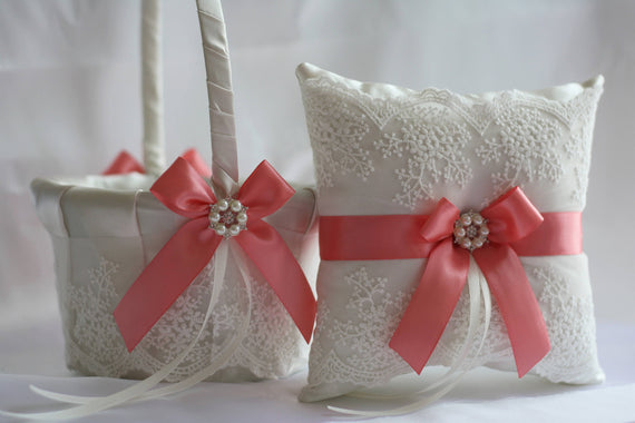 Coral Wedding Basket, Coral Ring Bearer Pillow Basket Set, Lace Ring Bearer Coral Flower Girl Basket Coral Wedding Pillow, petals basket
