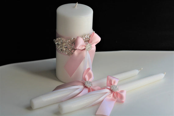 Pink Candles, Wedding Candles, Unity Candles, Wedding Unity candle set, Pillar candle, Stick candles, Marriage candles, ceremony candle