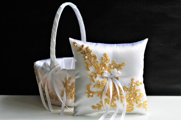 White Ring Bearer Pillow, Gold Flower Girl Basket, Gold Wedding Basket, White Gold bearer pillow, Gold basket pillow set Gold Wedding Pillow