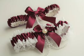 Wine Garter Set, Burgundy Garters, Red Wedding Garter, Red Garter Belt, Wine Bridal Garter Set, Lace Wedding Garter, Keepsake Garter Gift