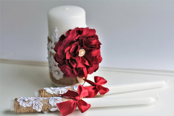 Rustic Unity Candles, Burgundy Candles, Red Wedding Candles, Rustic Candle Set, Lace Candles, Wedding Unity Candle, Vintage Unity Candle
