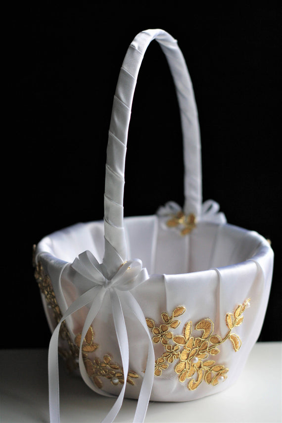 Gold Flower Girl Basket, Gold Wedding Basket, White Basket Pillow Set, Ceremony Basket, Gold Flower Basket, White Gold Basket, Petals Basket