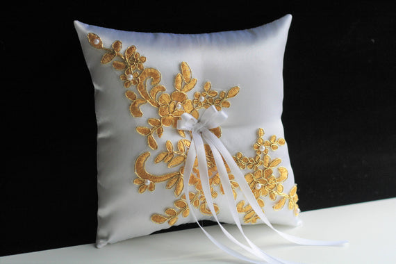 Gold Ring Bearer Pillow, White Gold bearer pillow, basket pillow set, Gold Wedding Pillow Gold Lace Bearer Marriage Pillow Gold Ring Holder