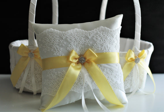 Yellow Ring Bearer Pillow, Yellow Flower Girl Basket, Canary Yellow Wedding Basket Pillow Set, Yellow Wedding Ring Pillow Yellow Ring Holder