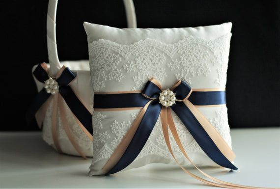 Navy Ring Bearer Pillow and Flower Girl Basket Set Champagne Basket Beige Ring Pillow Navy Blue Wedding Basket Pillow Set Navy Ring Holder