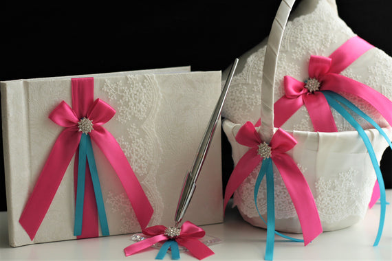 Fuchsia Ring Bearer Pillow, Fuchsia Flower Girl Basket, Fuchsia Guest Book with Pen, Fuchsia Wedding Ring Pillow basket set, Wedding Basket