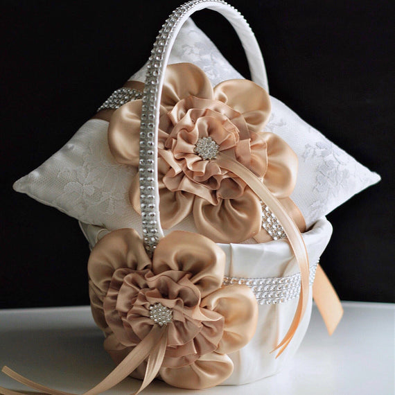 Beige Flower Girl Basket, Beige Ring Pillow, Champagne Wedding Basket, Wedding Pillow, Flower Girl Proposal, Ring Bearer Pillow