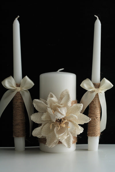 Rustic Unity Candles, Shabby Chic Candles, Rustic Wedding Candles, Burlap Unity Candle Set, Shabby Chic Wedding, rustic candles Set