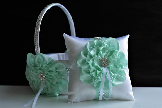 Mint Flower Girl Basket and Ring Bearer Pillow, White Ring Holder, Flower girl Baskets, Wedding Basket bag