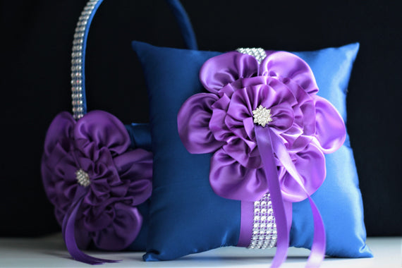Blue Flower Girl Basket and Ring Bearer Pillow set Blue Purple Wedding Ring Pillow Blue Wedding Basket Royal Blue Wedding Ceremony Basket