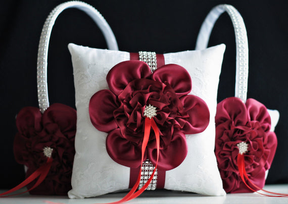 Burgundy Flower Girl Basket & Ring Bearer Pillow Burgundy Bridal Garter Set Wine Wedding basket Wine Wedding Pillow Wedding ceremony basket