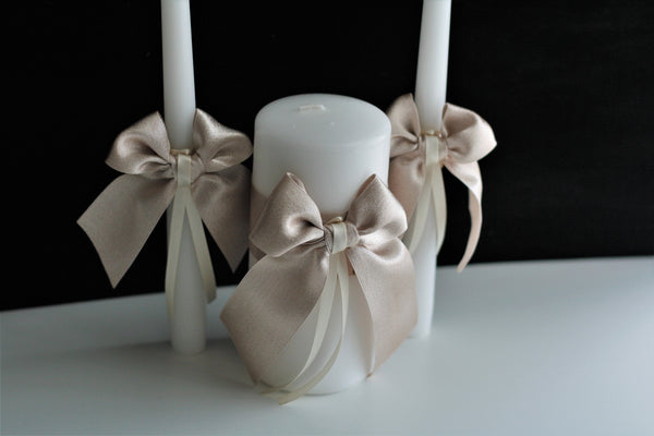 Beige Unity Candles Set Champagne Candles Beige Wedding Candle Set Ceremony Candles Church Unity Candles Beige Pillar Candle Stick Candles