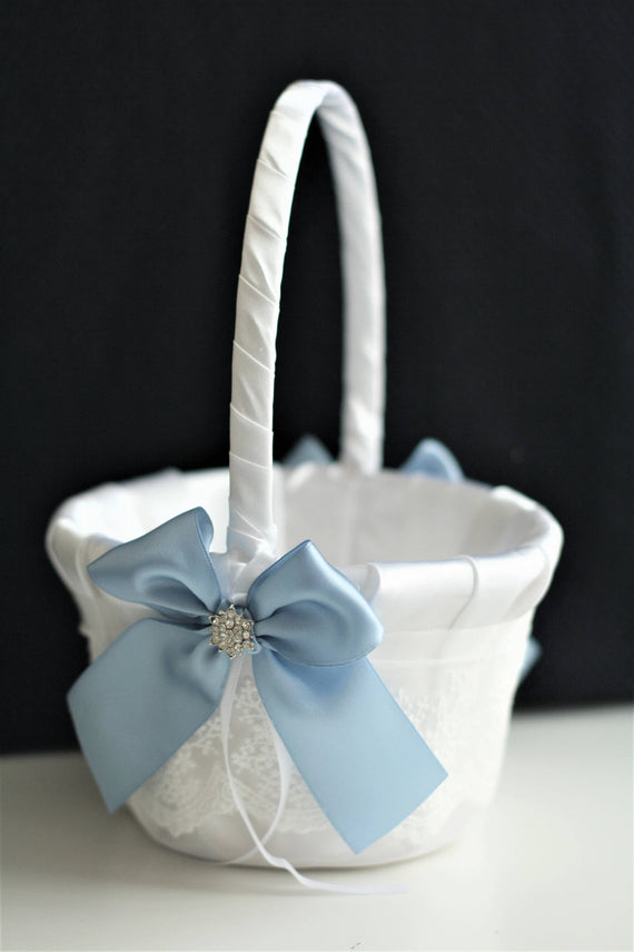 Blue Flower Girl Basket Steel Blue Basket for Petals Basket for Wedding Basket Antique Blue Basket Lace Wedding Basket Ceremony Basket